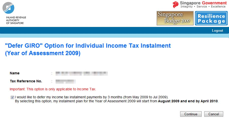 Singapore – Defer your Income Tax Payment